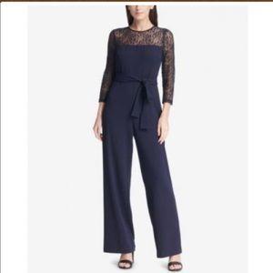 Women DKNY Belted Lace Jumpsuit